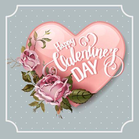 Tarjeta de la vendimia de felicitación del día de San Valentín con rosas y corazón de la vendimia