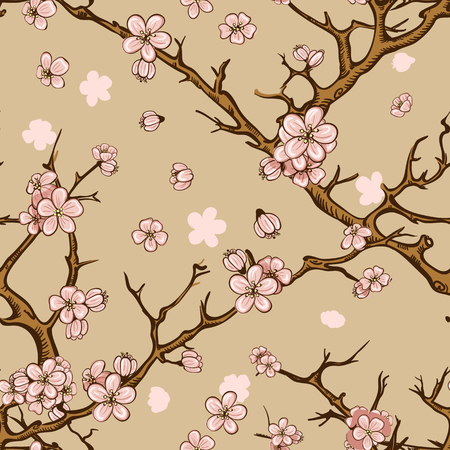 nippon: cherry blossom or sakura seamless pattern background
