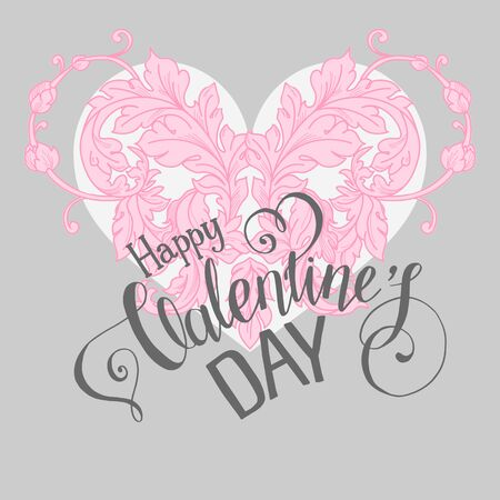 heart month: Valentines day lettering greeting card with floral design elements and heart. Vector illustration Illustration