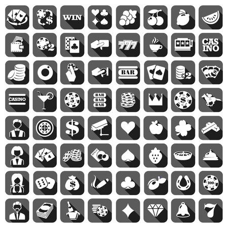 El gran conjunto de iconos de máquinas tragamonedas monocromática plana gris.