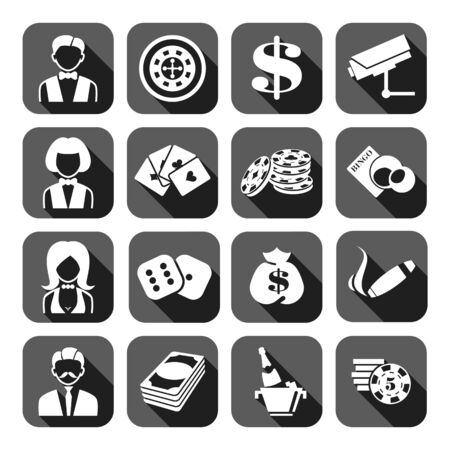 heart suite: The set of gray flat monochrome casino icons. Slot machine. Illustration