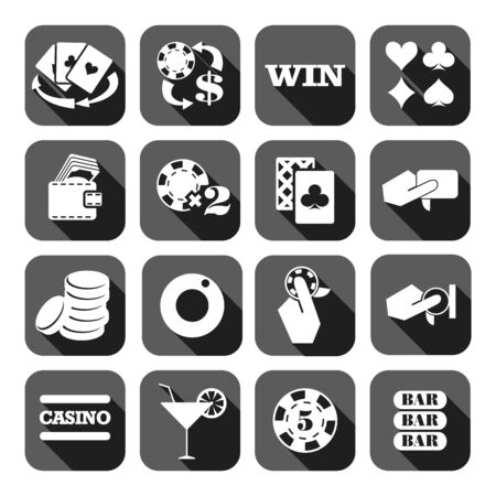 The set of gray flat monochrome casino icons. Slots Illustration