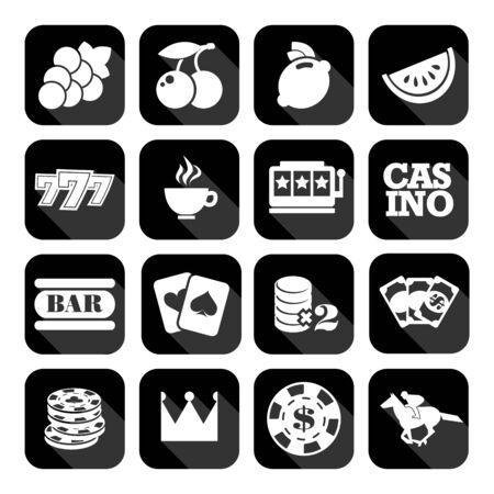 slots: The set of flat monochrome casino icons for slots. Slot machine signes