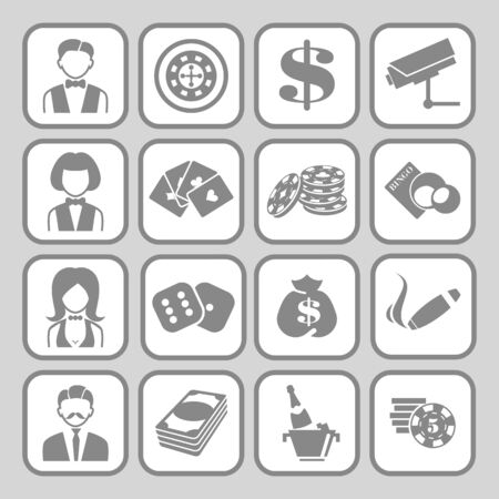 heart suite: The set of flat monochrome casino icons for slot machine. Illustration