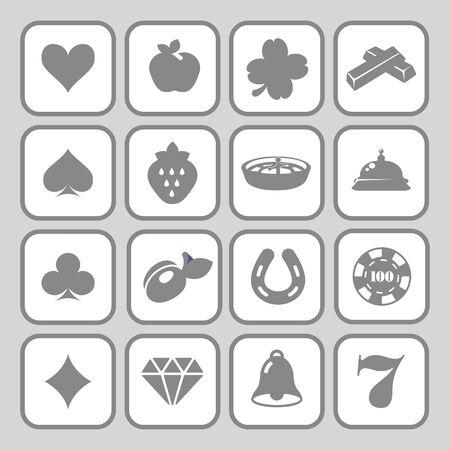 white clover: The set of flat monochrome casino icons for slot machine. Illustration