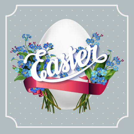 forget me not: Easter lettering vintage  greeting card with egg and forget-me-not flowers