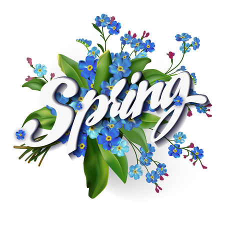 forget me not: Spring lettering  illustration with forget me not bouquet flowers