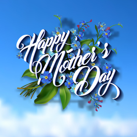 Happy Mothers Day Typographical Lettering Greeting card Vettoriali