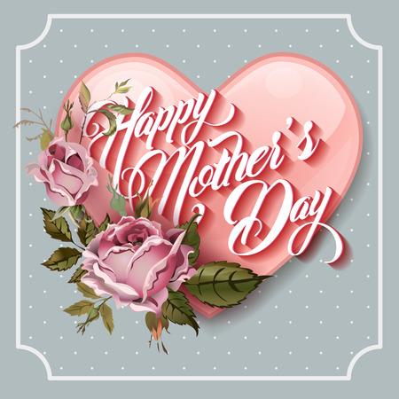 Feliz de la vendimia del día de madres Tarjeta de felicitación tipográfico letras