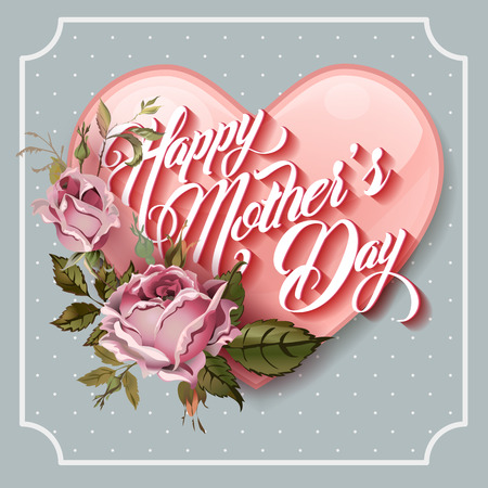 abstract flowers: Happy Mothers Day vintage Typographical Lettering Greeting card Illustration