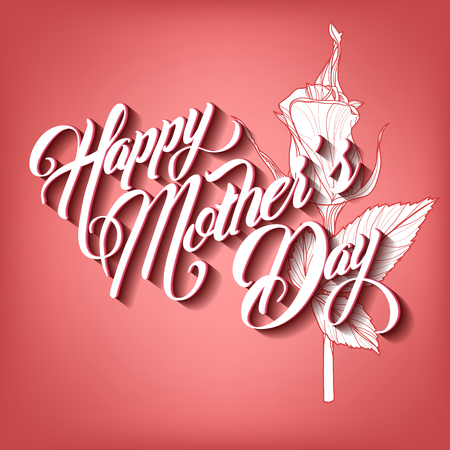 mother day: Happy Mothers Day Typographical Lettering Greeting card Illustration
