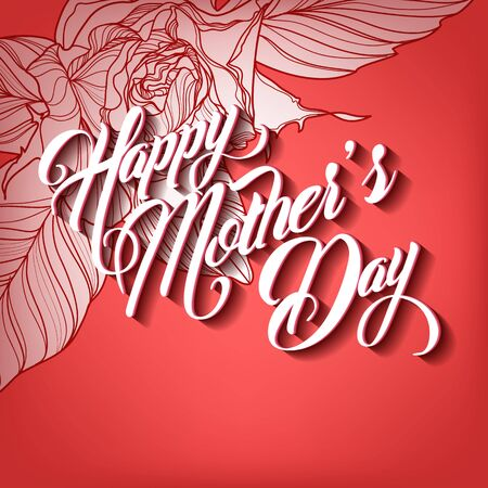 typographical: Happy Mothers Day Typographical Lettering Greeting card Illustration