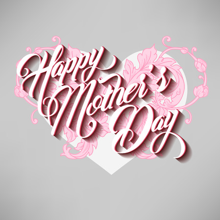 mother's day: Happy Mothers Day Typographical Lettering Greeting card with heart