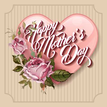 mother's day: Happy Mothers Day Typographical Lettering vintage Greeting card