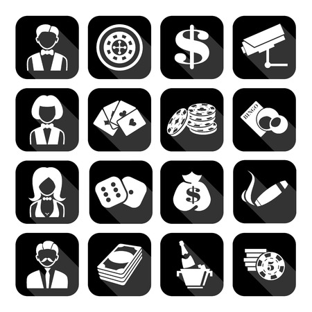 heart suite: The set of flat monochrome casino icons for slots. Slot machine signes
