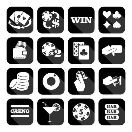 heart suite: The set of flat monochrome casino icons for slots. Slot machine signes
