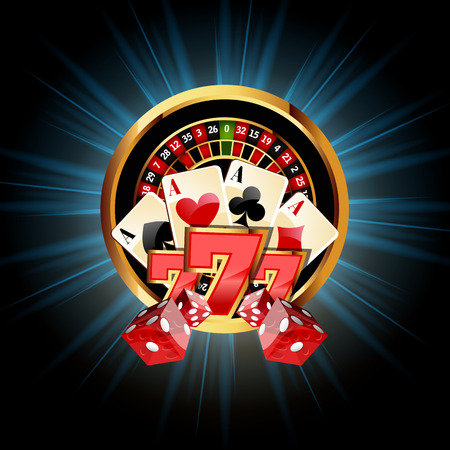 casino chip: Casino  Composition with Roulette Wheel, Playing Cards ans Dice