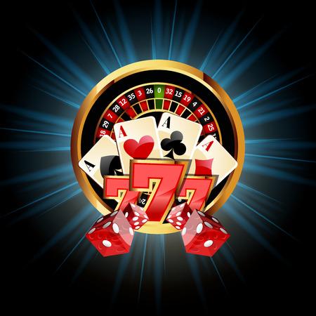 Composición casino con ruleta, dados Naipes ans Vectores