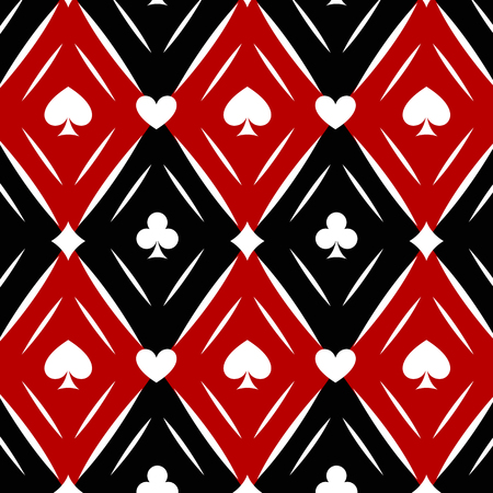 black and red: Seamless casino gambling  background with red, black, white cards symbols Illustration