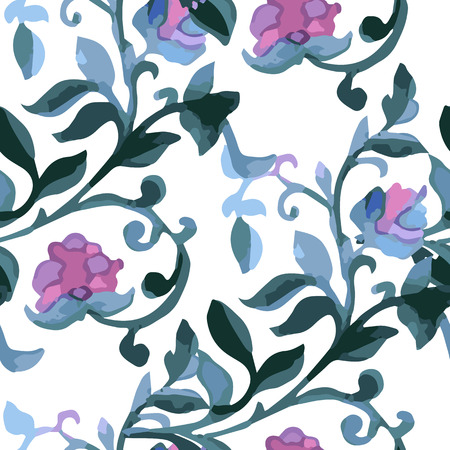 cold colors: Watercolor Paisley Seamless Background on White. Cold Colors. Indian, Persian or Turkish Art. Vector Handdrawn Pattern.
