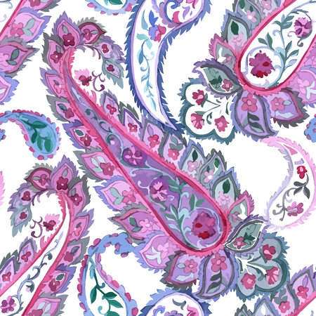 persian: Watercolor Paisley Seamless Background on White. Cold Colors. Indian, Persian or Turkish Art. Vector Handdrawn Pattern.
