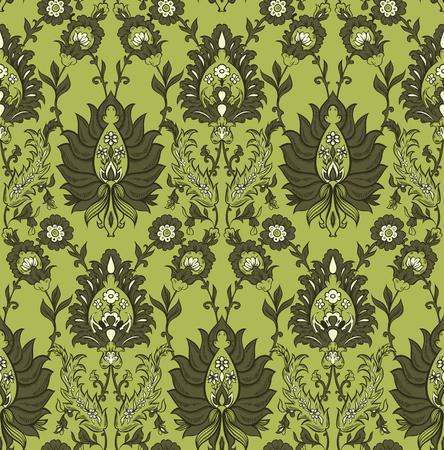 Carta da parati senza cuciture floreale verde del modello del fondo con i fiori