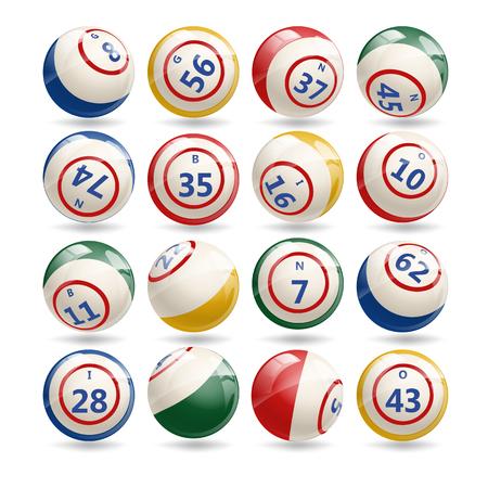 billiard: Big Set of Lottery Bingo Billiard Balls Illustration
