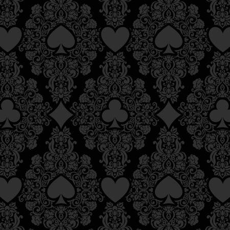 Schwarz nahtlose Casino-Poker-Hintergrund mit dunklen Damastmuster und Karten Symbole