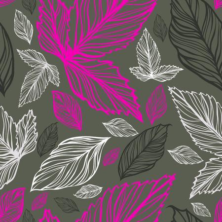 Floral nahtlose Hintergrund Muster Hintergrund mit Blättern Standard-Bild - 55221910