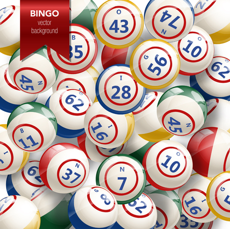 Bingo or Lottery Background with Balls. Vector Illustration.