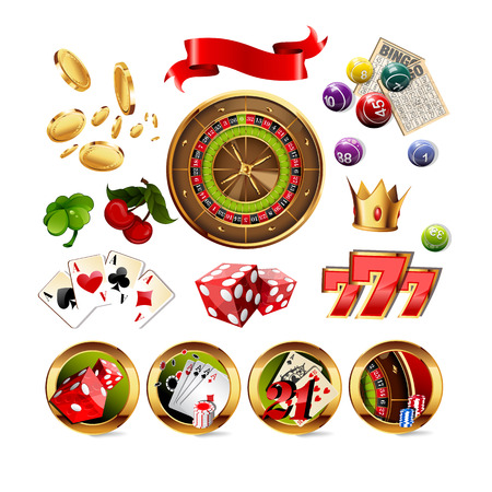 roulette online: Big Set of Casino Gambling Elements and Icons Including Roulette Wheel, Playing Cards, Dice, Bingo Balls and Cards. Vector Illustration. Illustration