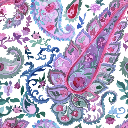 persian art: Watercolor Paisley Seamless Background on White. Cold Colors. Indian, Persian or Turkish Art. Vector Handdrawn Pattern.