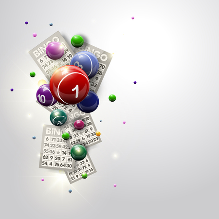 Bingo Balls and Cards Design on a Glowing White Background