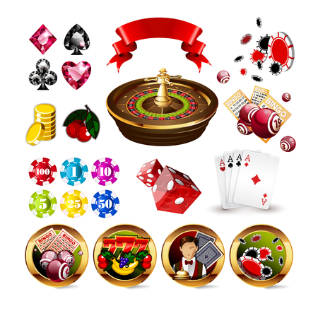 roulette online: Big Set of Casino Gambling Elements and Icons Including Roulette Wheel, Playing Cards, Dice, Bingo Balls and Cards, Card Suits. Vector Illustration