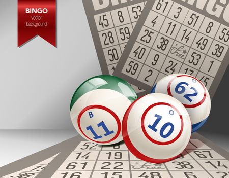 bingo: Bingo Background with Balls and Cards. Vector Illustration. Lottery.