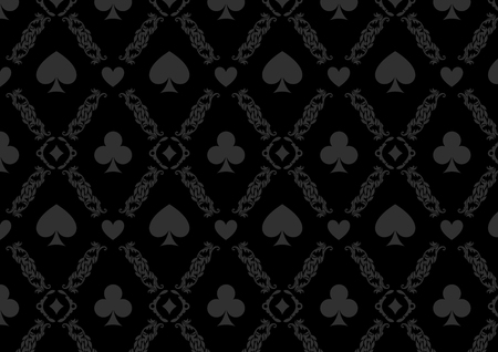 Black seamless casino gambling poker background or damask pattern and cards symbols