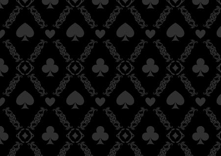 Zwarte naadloze casino gokken poker achtergrond of damastpatroon en kaarten symbolen Stock Illustratie