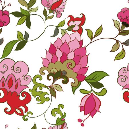 indische muster: Aquarell Paisley Nahtlose Hintergrund auf Weiß. Kalte Farben. Indischen, persischen oder türkischen Art. Vector Handdrawn Muster.