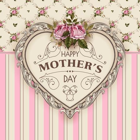 Gelukkige Moederdag. Vakantie feestelijke vectorillustratie met letters en Vintage sierlijke hart. Moedersdag wenskaart met retro stijl rozen. Shabby chic ontwerp.