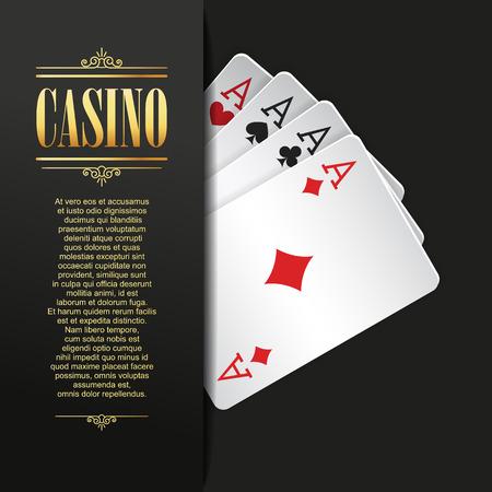 Contexte du casino. Vector Poker illustration. Modèle de jeu. Conception de casino avec cartes à jouer. Quatre astuces. Bannière de casino. Folkote de casino. Vector casino jeu illustration. Casino Banque d'images - 56186015