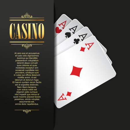 Casino background. Vector Poker illustration. Gambling template. Casino design with playing cards. Four aces. Casino banner. Casino flyer. Vector casino gambling illustration. Casino