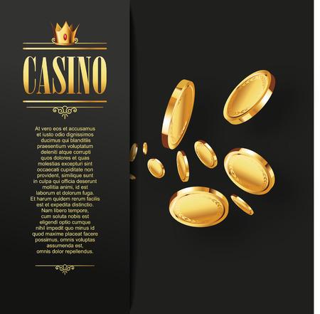 Casino Vector Glücksspiel Hintergrund. Casino-Poster oder Flyer mit goldenen Münzen fliegen. Vektor-Casino-Illustration. Casino Hintergrund, Casino-Vorlage. Casino-Flyer. Casino-Banner. Kasino.