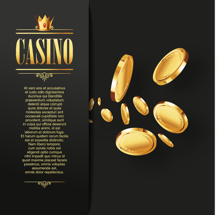 Casino Vector gokken achtergrond. Casino poster of flyer met vliegende gouden munten. Vector casino illustratie. Casino achtergrond, Casino sjabloon. Casino flyer. Casino banner. Casino. Stock Illustratie