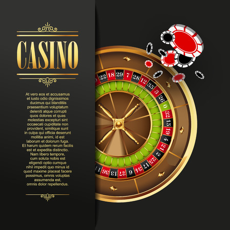 gambling game: Casino background. Vector  illustration. Gambling template. Game design with roulette wheel and poker chips. Four aces.