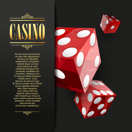 red dice: Casino background. Vector Poker illustration. Gambling template. Casino design with red dice. Four aces. Casino banner. Casino flyer. Vector casino gambling illustration.