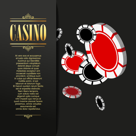 gambling chips: Casino background. Vector Poker illustration. Gambling template. Casino design with flying poker chips. Four aces. Casino banner. Casino flyer. Vector casino gambling illustration.