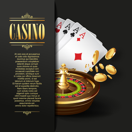 casinos: Casino background. Vector Poker illustration. Gambling template. Casino design with roulette wheel and  playing cards. Four aces. Casino banner. Casino logo. Casino flyer. Vector casino gambling illustration.