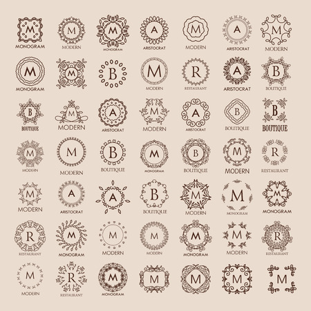 graceful: Big bunch of luxury, simple and elegant monogram design templates. Good for labels. Vector illustration. Line style. Big set of monograms. Monogram design. Vector monogram. Illustration