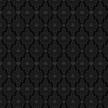 Black seamless casino gambling poker background with dark damask pattern and cards symbols