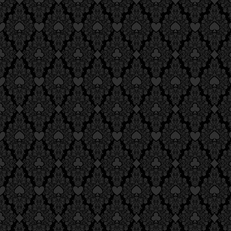 Black seamless casino gambling poker background with dark  damask pattern and cards symbols